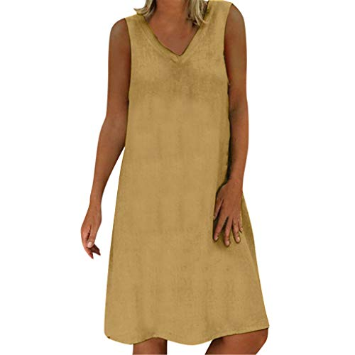 - DondPo Women's Solid A-Line Dress Sleeveless Summer Feminino Vestido T-Shirt Cotton Loose Casual Plus Size Ladies Dresses