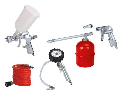 Einhell Druckluft Set, 5-teilig passend für Kompressoren (4 m Schlauch, Sprühpistole, Spritzpistole Reifenfüllmesser, Ausblaspistole)