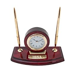 Iona Executive Wood Clock and Pen Stand 'Iona Wordmark Engraved'