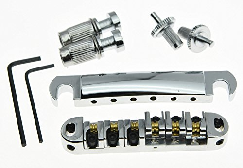 guitar parts LP Guitar Tune-o-matic Roller Saddle Bridge & Tailpiece Set for Les Paul, chrome (Kahler Tremolo Arm)