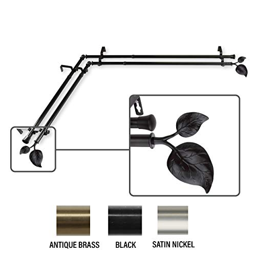 InStyleDesign Vine Corner Window Double Curtain Rod 13/16 inch Dia. Black 28-48 inches N/A