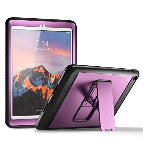 (YOUMAKER New iPad 9.7 Case 2018/2017, Heavy Duty Kickstand with Built-in Screen Protector Full-Body Shockproof Protective Case Cover for Apple iPad 9.7 inch 2017/2018 5th/6th Gen (Purple/Black))