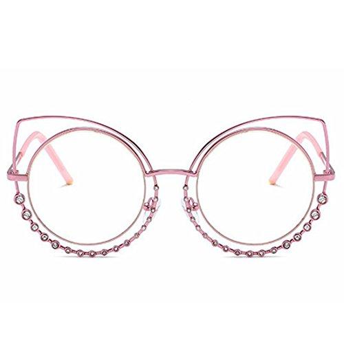 Soleil Pink Color Frame pour Soleil Frame Chat Lunettes Femmes Clear de Yeux avec Lens métallisées de Clear Pink Lens de Lunettes LiShihuan E6OSnqgZ