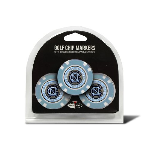 Team Golf NCAA North Carolina Tar Heels Golf Chip Ball Markers (3 Count), Poker Chip Size with Pop Out Smaller Double-Sided Enamel Markers from Team Golf