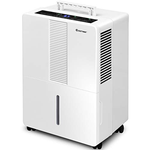 COSTWAY Portable Dehumidifier 70 Pint for Basements Bathrooms Rooms up to 4500 Sq.Ft. with Wheels and Drain Hose Outlet to Remove Odor and Allergens (70 Pint) Review