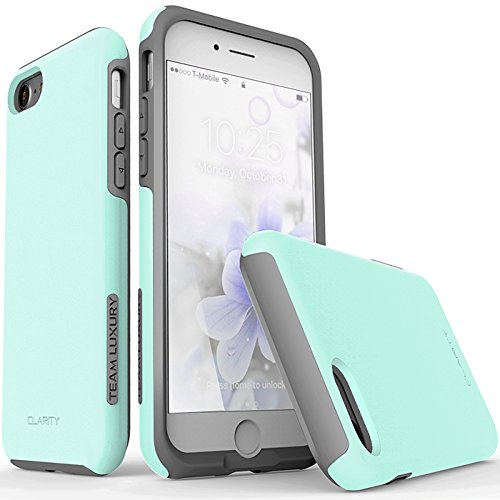 iPhone 7 Case, TEAM LUXURY [Clarity Series] Turquoise Ultra Defender TPU + PC [Shock Absorbent] Premium Protective Case - for Apple iPhone 7 (Soft mint/ Gray)