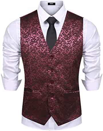9d359d1b5d036 URRU Mens Single Breasted Vest Dress Vest Slim Fit Button Down Prom Formal Suit  Vest Waistcoat