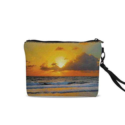 Ocean Decor Female Cosmetic Bag,Morning at the Beach in Brazil the Sun Rays Through The Clouds over the Sea Sunset Image For Women Girl,9