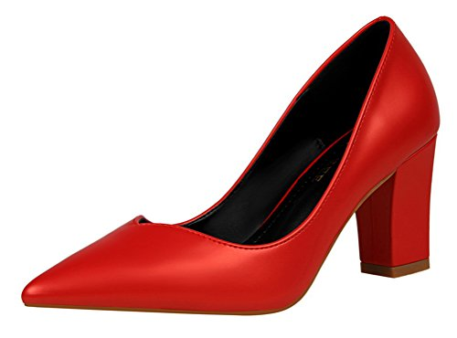 T&Mates Womens Retro Pointed Toe Slip-on Low Top Block Chunky Heel Patant Leather Pump Shoes (7.5 B(M) US,Red)