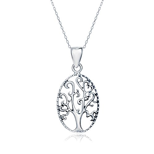 Sterling Silver Oval Open Cut Tree of Life Necklace Pendant, 20mm