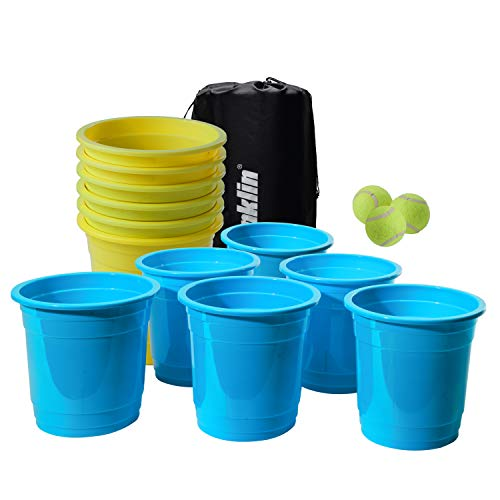 Franklin Sports Bucketz Pong Game - Perfect Tailgate Game and Beach Game - Pong Set Includes 12 Buckets, 3 Balls, and a Carry Case