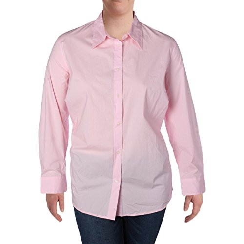 Lauren by Ralph Lauren Womens Plus Long Sleeve Cotton Button-Down Top Pink 2X