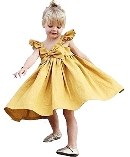 EGELEXY Summer Baby Kids Girls Ruffles Big Bowknot Strap Beach Dress Princess Sundress Size 12-18 Months/Tag90 (Yellow) by EGELEXY