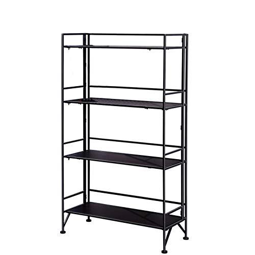 DENGS Multi-Functional Rack Foldable Floor-Standing Iron Art Portable Four Floors Household Living Room Storage Rack Wood Shelf Shopkeeper/Black / 6430112cm