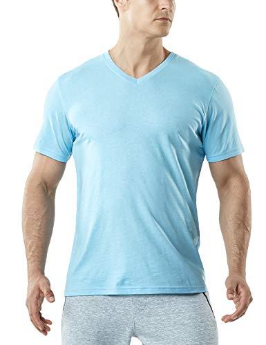 TSLA Men's HyperDri Short Sleeve T-Shirt Athletic Cool Running Top MTS Series, Dyna Cotton V Neck(mts51) - Light Blue, Large (Boxing Womens Light T-shirt)
