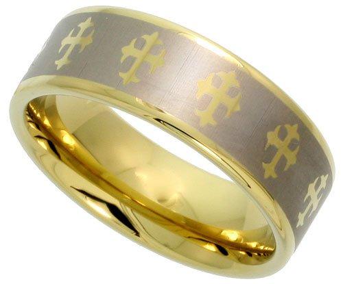 Gold Tungsten Wedding Crosses sizes