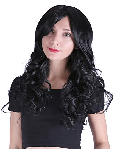 Curly Hair Wig Costumes (HDE Women's Long Wavy Wig 24 inch Curly Glamour Hair for Halloween Cosplay Costumes)