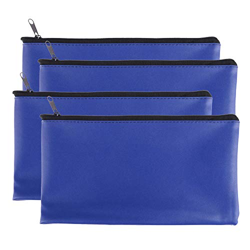 Zipper Bank Bags,4 Pack Money Pouch Bank Deposit Bag PU Leather Cash and Coin Pouch Bank envelopes with Zipper (Blue)