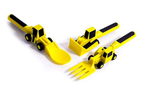 Dump Truck Plate - Constructive Eating Set of Construction Utensils for Toddlers, Infants, Babies and Kids - Flatware Toys are Made with FDA Approved Materials for Safe and Fun Eating