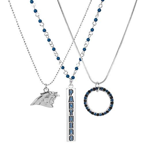 Siskiyou NFL Carolina Panthers Silver Plated Trio Necklace Set, Blue, 16