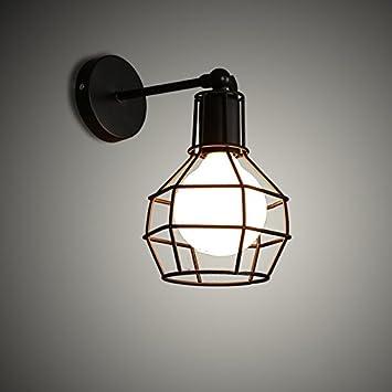 LWYJRBD Aplique/Lámpara de Pared/Hierro jaula desván lámparas de pared dormitorio sujetador pasillo de la ...