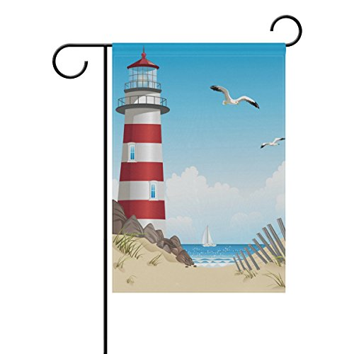 ALAZA Double Sides Summer Garden Flag, Lighthouse Sailing Seagull Beach Welcome Yard Nautical Sea House Flags Banners for Outdoor Lawn Decor, 12