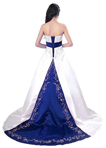 Vantexi Embroidery Satin Strapless Wedding Dress Bridal Gown Ivory Blue 28