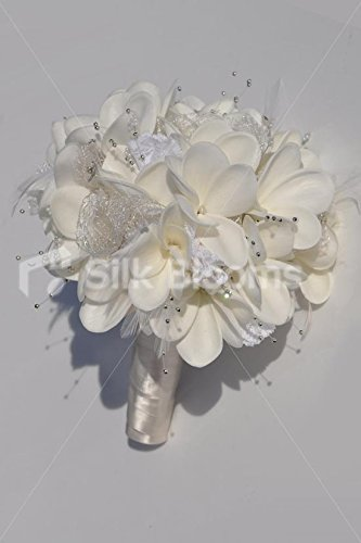 Artificial-Fresh-Touch-White-Frangipani-Bridal-Bouquet-with-Lace