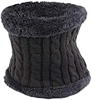 Pesaat Simple Winter Fleece Scarf Thick Windproof Neck Warmer Warm Men Scarves for Outdoors Sports