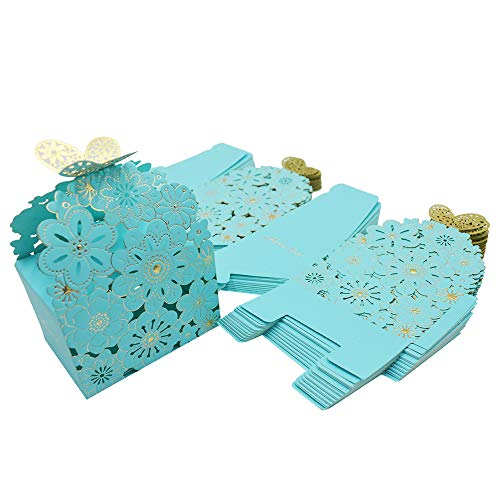 Blue Favor Boxes - Kslong 50Pcs/Set Flower Butterfly Hollow Candy Box Cookie Gift Boxes Romantic Wedding Favors Cute Chocolate Box for Wedding Bridal Birthday Party Supplies (Blue, S)