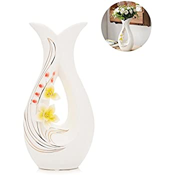 Amazon tall white ceramic flower vases116 high decorative tall white ceramic flower vases116 high decorative vases with handmade porcelain yellow mightylinksfo
