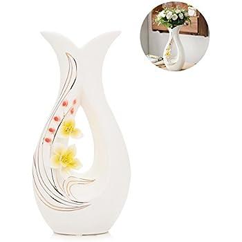 Attirant Tall White Ceramic Flower Vases,11.6u0027u0027 High Decorative Vases With Handmade  Porcelain Yellow