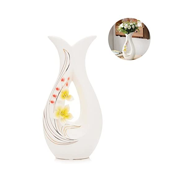 "Tall White Ceramic Flower Vases,11.6'' High Decorative Vases with Handmade Porcelain Yellow Flowers for Living Room, Kitchen, Table, Home, Office, Centerpiece, Wedding, Party or as a Gift - EYE-CATCHING UNIQUE&STYLISH SHAPE:This high white ceramic vases is hand-made by skilled craftmans. Hand carved porcelain yellow flowes with ""gold"" line make decorative table vases elegant and stand out wherever you add to. WATER-TIGHT&FLAT BOTTOM: Made from high quality ceramic, the flower vase's bottom is flat and water-tight, which make the vases not only avoid damaging table but allows you to fill these white vases with your favorite fresh or artificial flowers, like Roses, Tulips, Orchids or branches, wheat and etc. MATCH ANY DECORS&BEST GIFT: Perfect size 11.8H*5.9L*3.5W inches compliment most of office or home décor, living room, table, Kitchen, shelf, dinner parties, housewarming, holidays, wedding, rastaurant, flower shop, spa and other special occasions. Also as a best gift to your family, friends or lovers who likes to decor accents around the house. - vases, kitchen-dining-room-decor, kitchen-dining-room - 418y3roBc%2BL. SS570  -"
