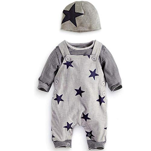 Newborn Baby 3Pcs Sets, Casual Stripe T-shirt Top Star Baggy Adjustable Bib Pants Overall Jumpsuit Hat (Gray, 6-12 Months) by Aritone - Baby Clothes