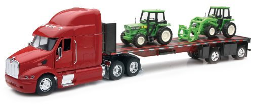 Peterbilt Tractor Trailer Diecast Toy - Peterbilt Truck with Flatbed Trailer and 2 Farm Tractors: Diecast and Plastic Model - 1:32 scale
