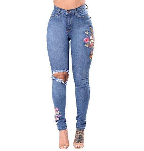 Taille Femme Casual Denim WanYang A Mode Jeans Haute Trou Elastique Clair Pantalons Bleu Femmes Dchirs fq0qH