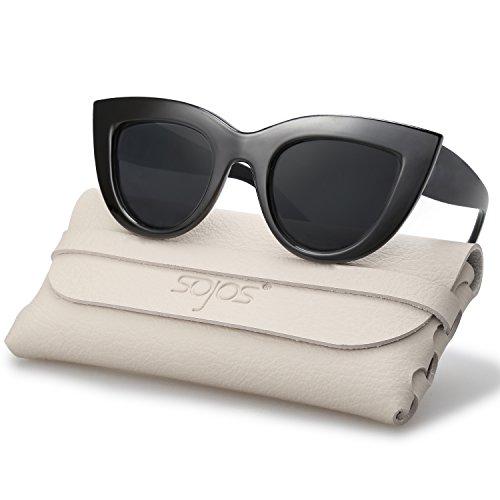SOJOS Retro Vintage Cateye Sunglasses for Women Polarized Mirrored Lens SJ2939 with Black Frame/Grey Polarized Lens with Soft Case -
