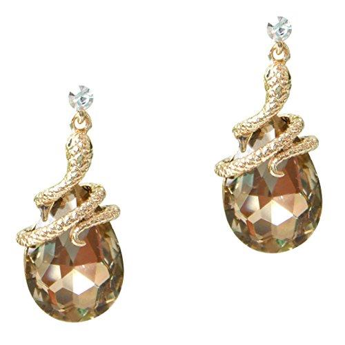 (Navachi 18k Gold Plated Crystal Brown Zircon Snake Drop Dangle Earrings )