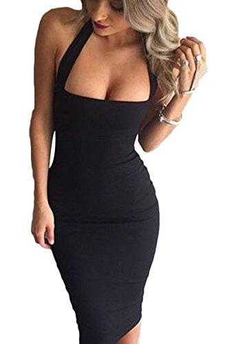 Prograce Black Slim Fit Halter Bodycon Bandage Cocktail Club Midi Dress for Women S
