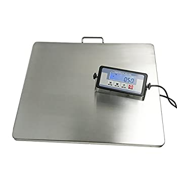 Image of Angel USA Extra Large Platform 22 Inches x 18 Inches Stainless Steel 400 Pounds Heavy Duty Digital Postal Shipping Scale, Powered by Batteries or AC Adapter, for Floor Bench Office Weight Weighing Postal Scales