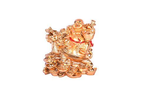 Buddha Dragon - Ryme Vastu Feng Shui Laughing Buddha With Dragon - Tortoise On Bed Of Wealth, Good Luck & Brings Prosperity, Success And Financial Gains To The House