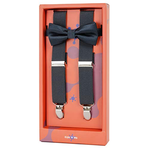 Kid n' Me Kids Adjustable Elastic Suspenders And Bow Tie Gift Set Solid Color Perfect for Babies, Toddlers, Boys and Girls (22 Inch (6 Months - 30 Months), Charcoal)