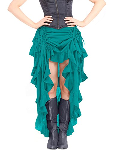 [Steampunk Victorian Gothic Womens Costume Show Girl Skirt (Teal) (X-Large)] (Victorian Womens Costumes)