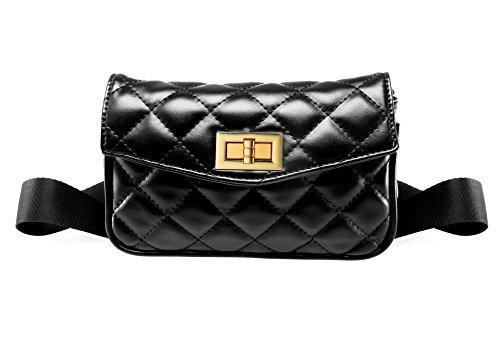 Womens Vintage Stylish CuteFaux Leather Fanny Pack Black Classy Pouch Bag Wallet ()