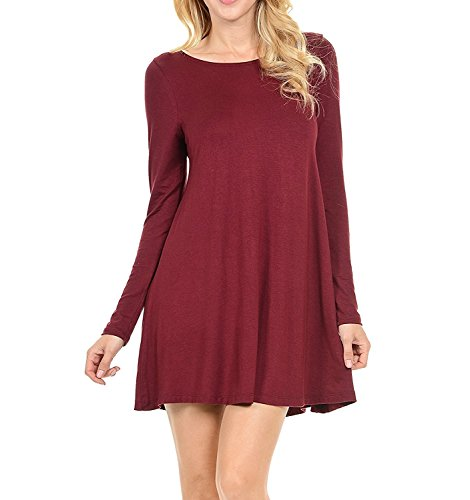 Kebinai Cosy Stretchy Flowy Loose Fit Tunic Dress for Casual Work Cocktail Beach Lounge Sleep LS WineSmall