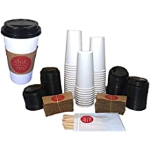 Solo Coffee Bundle – 420W-2050 - 20oz. Solo Leak Resistant Paper Hot Cup, Solo Travel Lid, Insulated Sleeve, Wooden Stirrers – Dot Red Travel Pack (40 Pack of each)
