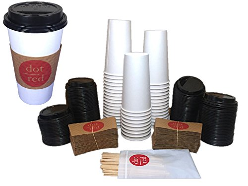 �� (80 Pack each) 20oz. Solo Leak Resistant Paper Hot Cup 420W-2050, Solo Travel Lid, Insulated Sleeve, Wooden Stirrers – Dot Red Travel Pack (80 Pack) ()