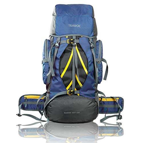 TRAWOC 60 LTR Travel Rucksack Bag Hiking Trekking Backpack, Navy Blue Price & Reviews