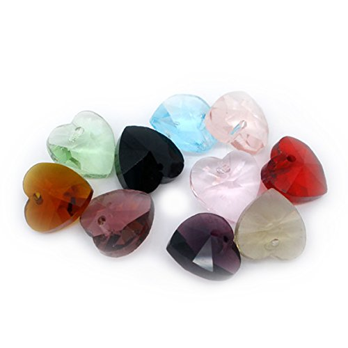 - Housweety 100 Mixed Crystal Glass Faceted Heart Drop Charm Beads 6202 10x10m