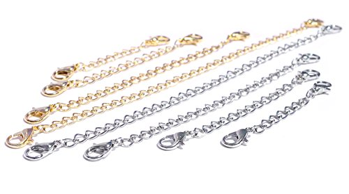 Necklace-Extenders-6-or-8-Pack-of-Gold-Silver-Tone-Lobster-Clasp-extensions-for-necklaces-and-bracelets
